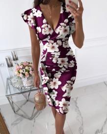 Yaz Elegant Wrap V Yaka Çiçekli Mor Midi Elbise