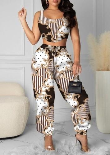 Ensemble de 2 pièces Crop Top rétro et pantalon taille haute à imprimé d'été