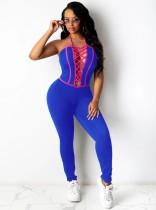 Sommerblauer Sexy Neckholder-Overall zum Schnüren