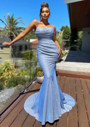 Vestido de noche de sirena con correa brillante azul formal de verano