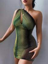 Mini vestido de fiesta de un hombro sexy verde con estampado de verano