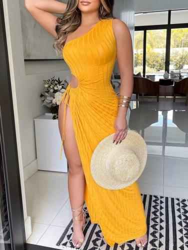 Vestido de fiesta largo con abertura en un hombro sexy con corte amarillo de verano