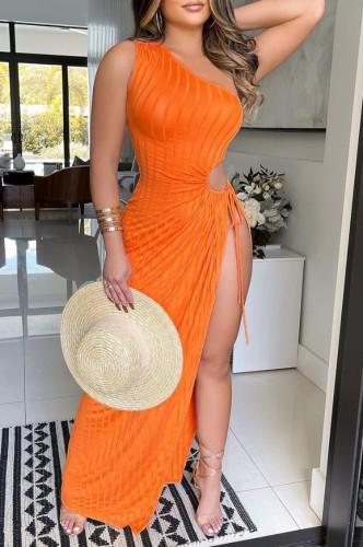 Vestido de fiesta largo con abertura en un hombro sexy de verano naranja