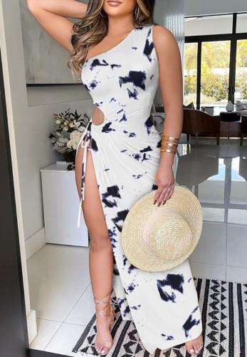 Vestido de fiesta largo con abertura en un hombro sexy con estampado de verano
