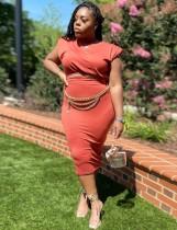 Summer Plus Size Casual Red Crop Top y Falda lápiz Conjunto de 2 piezas