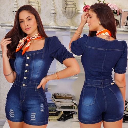 Summer Blue Button Up Mamelucos de mezclilla rasgados con cuello cuadrado