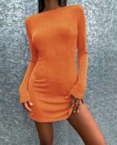 Herbst Casual Orange Langarm Minikleid