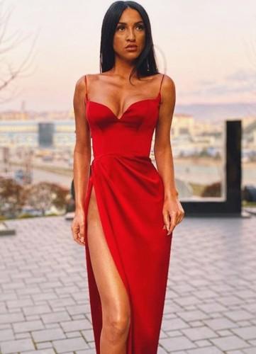 Vestido de noche largo con correa de hendidura roja formal de verano