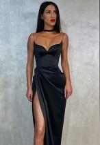 Vestido longo formal de verão com alça fendida preta