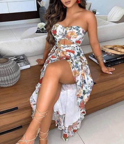 Vestido largo con abertura sin tirantes floral elegante de verano