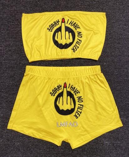 Conjunto de top bandeau con estampado de verano y pantalones cortos a juego