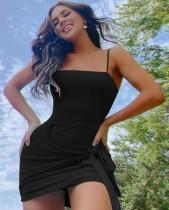 Mini vestido anudado con correa sexy negra de verano
