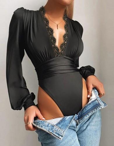 Body de manga larga de corte alto con escote en V profundo y sexy de otoño negro