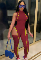 Summer Red Sexy Sleeveless Cut Out Patch Bodycon Jumpsuit