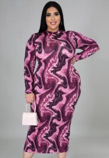Autumn Plus Size Print Long Sleeve Bodycon Midi Dress