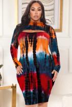 Vestido ajustado con efecto tie dye sexy de talla grande de otoño