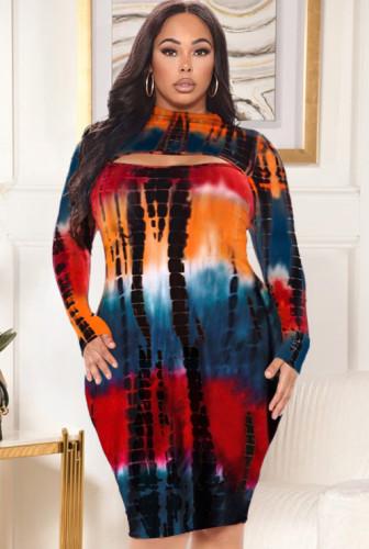 Robe moulante sexy tie-dye taille plus d'automne
