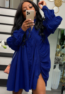 Autumn Casual Blue Puff Sleeve Loose Blouse Dress