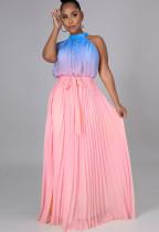 Vestido largo largo plisado con cuello halter degradado elegante de verano