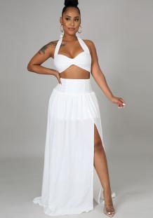 Summer White Halter Crop Top and High Waist Slit Long Skirt Set