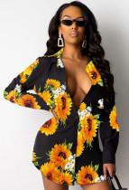 Herbst-Blumendruck-Langarm-Sonnenbluse-Kleid