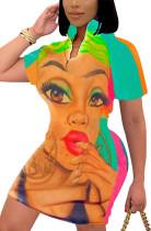 Sommer Hemdkleid mit Farbblock-Print und kurzen Ärmeln