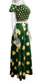 サマープリントグリーンシャーリングクロップトップとスリットロングスカート2PCマッチングサンドレスセット