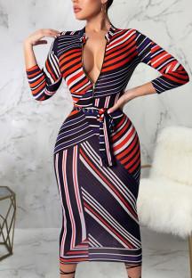 Sonbahar Zarif Çizgili Bodycon Midi Elbise