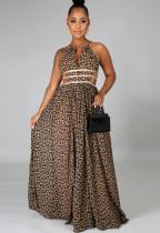 Vestido largo largo con cuello halter y estampado de leopardo ahuecado sexy de verano