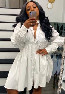 Autumn Casual White Puff Sleeve Loose Blouse Dress