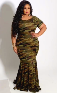 Summer Plus Size Camou Short Sleeves Long Dress