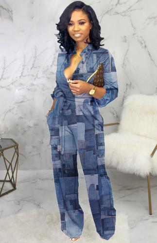 Autumn Print Denim Elegant Long Sleeve Jumpsuit
