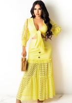 Conjunto de falda larga y top corto ahuecado amarillo otoñal