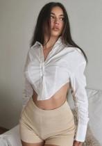 Blusa corta irregular de manga larga blanca sexy de otoño