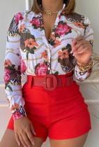 Otoño elegante blusa floral de manga larga y pantalones cortos traje de 2 piezas sin cinturón