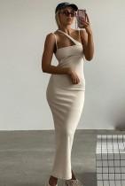 Vestido largo y delgado con correa de color sólido elegante de verano