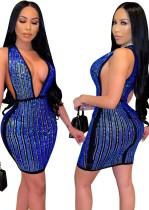 Mini vestido ajustado sin mangas con escote en V profundo y cuentas azules sexy de verano