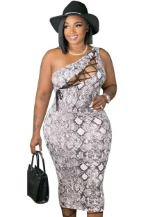 Summer Plus Size Sexy Lace-Up One Shoulder Snake Skin Bodycon Dress