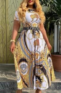 Summer Print Retro Short Sleeves Pleated Long Dress