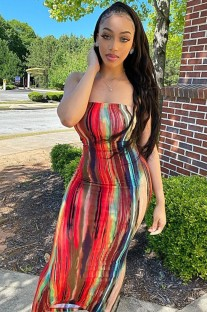 Summer Party Sexy Tie Dye Under-Knee Length Tube Dress