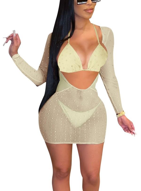 Conjunto de vestido de 3 piezas con cuentas de malla sexy beige de verano