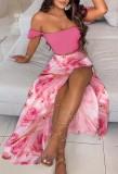 Summer Floral Pink Ruched Crop Top and Slit Long Skirt 2PC Matching Sundress Set