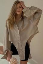 Blusa corta irregular de manga larga de color caqui sexy de otoño
