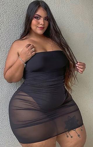 Robe tube transparente noire sexy d'été grande taille