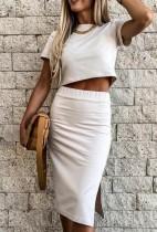 Conjunto de falda midi y top corto de color sólido elegante de verano