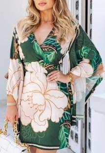 Sonbahar Baskısı Yeşil Zarif Yarasa Kolları Wrap Mini Elbise