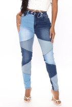 Autumn Patch Color Block High Waist Regular Jeans