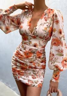 Mini abito autunnale classico con maniche a sbuffo e scollo a V floreale arricciato