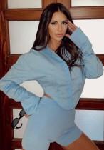 Blusa corta irregular de manga larga azul sexy de otoño