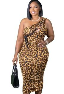 Летнее сексуальное облегающее платье с леопардовым принтом на одно плечо на шнуровке больших размеров